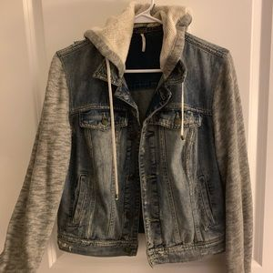 FREE PEOPLE denim and sweatshirt jacket
